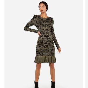 Express Zebra Print Sweater Dress